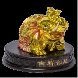 Слон хобот вверх на подставке 7,5х6см под золото