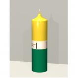 Свеча колонна 14см Быстрые деньги желтый с зеленым