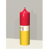 Свеча колонна 14см Возлюбленные красный с желтым