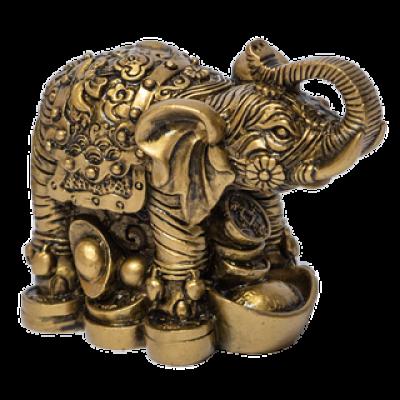 Слон хобот вверх на монетах 9х6,5х4,5см под бронзу