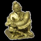 Старец с рыбой (богатство в дом) 8,5х10х8см под бронзу